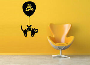 Gift Wall Vinyl Sticker Decals Mural Design Cute Cat With Balloon My Life #549