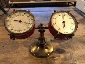 Frisy Barometer Drums Set Brass Thermometer Germany Hygrometer Vintage Antique
