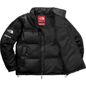 XL Supreme The North Face Leather Nuptse Jacket Black Mountain CDG TNF *IN HAND*
