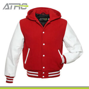 RedWhite Wool With Real Leather Sleeves Varsity Hooded Jacket Hoodie XS-4XL