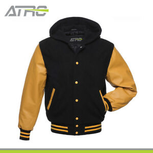 BlackGold Wool With Real Leather Sleeves Varsity Hooded Jacket Hoodie XS-4XL