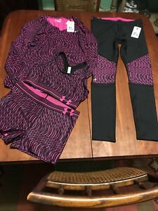 Womens Under Armour Lot Of 4 Pc Leggings Shorts Bra Long Sleeve Top Size Large