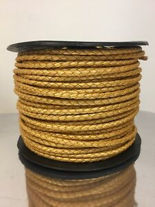 New Braided Premium Yellow Gold Leather Roll Spool 50 Meters for Arts Crafts $225.00