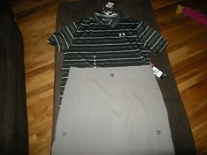 New Boys Black & Gray Under Armour Polo Shirt & Shorts Size XL