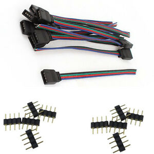 4 Pin Male Connectors and Female Wire Cables for 3528 5050 RGB LED Strip Lights