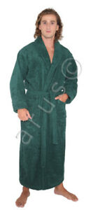 Arus Men's Full Length Long 100% Turkish Cotton Terry Bathrobe Made in Turkey
