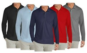 Mens Long Sleeve Long Tail Polo Shirt Modern Fit Casual Cotton Blend Button NWT $13.45