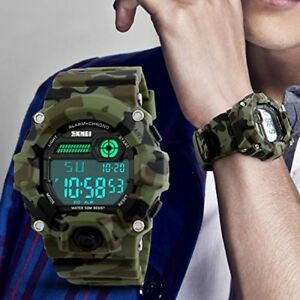 Boys Camouflage LED Sport WatchWaterproof Digital Electronic Casual Military Wr