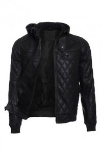 Mens Quilted PU Leather Jacket Hoodie Sherpa Fur Lined Zipper Front Moto Coat