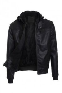 Mens Solid PU Leather Jacket Hoodie Sherpa Fur Lined Zipper Front Moto Coat