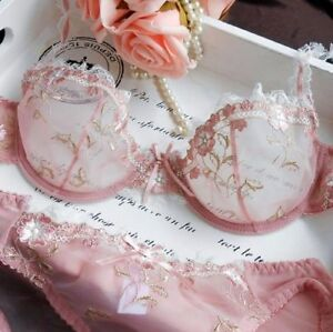 Women Floral Sheer Lace Embroidery  Bra and panty Sets Sexy Mesh Lingerie Set