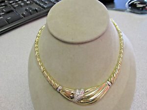 Beautiful 14k Gold Diamond Choker Necklace 16.5 inch Made in Italy  Make Offer