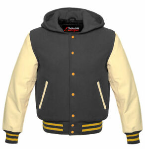 GreyCream Wool With Real Leather Sleeves Varsity Hooded Jacket Hoodie XS-4XL
