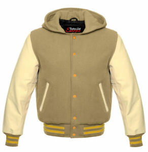 CreamCream Wool With Real Leather Sleeves Varsity Hooded Jacket Hoodie XS-4XL