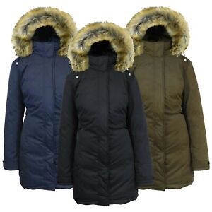 Womens Heavyweight Long Parka Jacket W Fur Hood Coat Warm Winter Full-Zip NEW