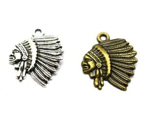 12pcs Antique Bronze/Silver Indian Tribe Chief Charm Pendants 18x21mm