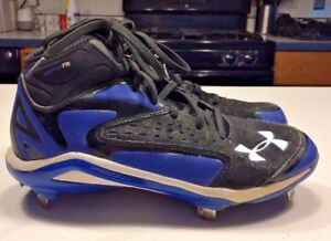 UNDER ARMOUR Baseball Metal Cleats Shoes Boys Mens Size 7 Black Blue