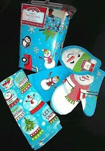 Christmas Vinyl Tablecloth Rectangle Round w Pot Holder Oven Mitt Towels Set