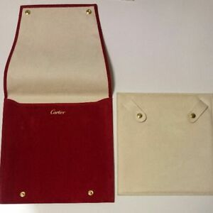 CARTIER RED Suede Travel Necklace Pendant Case Jewelry Pouch Display Authentic