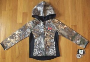 ✔NWT UNDER ARMOUR Girls Youth Realtree Camo Full Zip Hoodie Jacket ~ Size 4