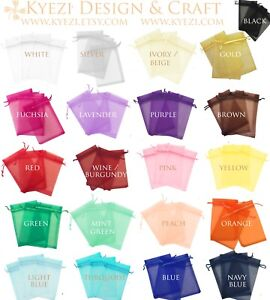 50/100/150/200 Drawstring Organza Bag Jewelry Pouch Wedding Party Favor Gift Bag