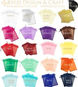 50 100 150 200 Drawstring Organza Bag Jewelry Pouch Wedding Party Favor Gift Bag $4.58