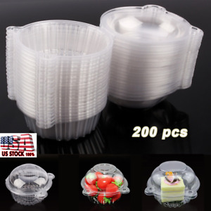 200x FOOD GRADE Cupcake Cake Case Muffin Fruit Dome Holder Box Container Plastic