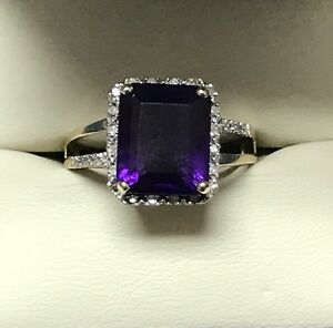 Purple Amethyst and Diamond Ring Size 10 Yellow Gold 10K