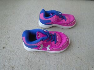 Baby Girls Under Armour pink shoes sz 5