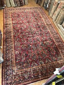 "Antique Handwoven Large Oriental Rug 10'4"" By 18' 1920's Red All Over Design"