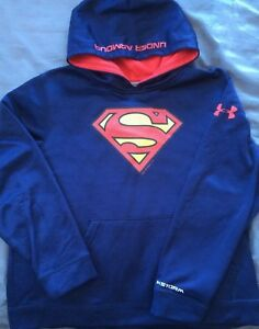 Boys Under Armour Cold Gear Storm Superman Hoodie. Size Youth XL