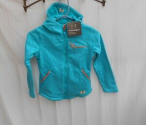 Girl's XS 6 Under Armour Extreme ColdGear Hoodie Jacket Storm 1 Full Zip Aqua