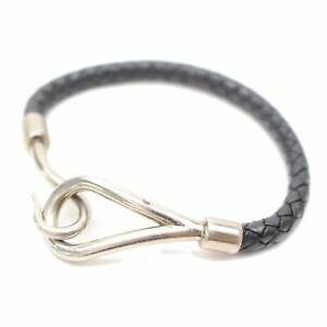Authentic Hermes Bracelet Jumbo Hook Silvertone Black Leather 155267