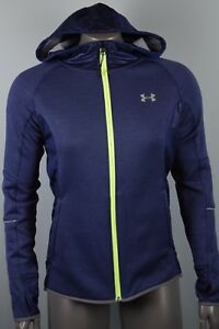 NWT! $120 Womens Under Armour Cold Gear Full Zip Jacket sz XS Blue Hooded