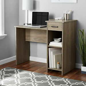Computer Desk For Small Spaces w Drawer Writing Student Table Rustic Oak Fininsh
