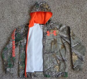UNDER ARMOUR Boys Youth Camo Camouflage Realtree Hoodie Zip Up Jacket YLG Large