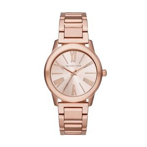 NEW Michael Kors Women's Hartman Rose Gold Stainless Steel Bracelet Watch MK3491