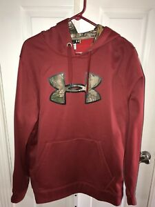 Men's Under Armour RealTree Camo Red Hoodie Sweatshirt Size Large