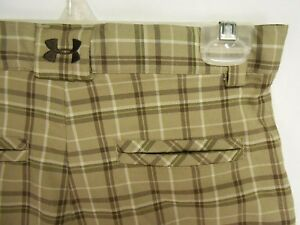 Under Armour Boys sz L (28 Waist) Brown Striped Polyester Golf Shorts