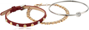 Fossil Womens Fashion 3 Pc Gift Set Leather Beaded Crystal Bracelets $98 NIB