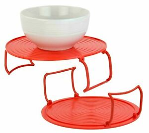 Home Basics 3-in-1- Multi-functional Plastic Microwave Tray, Red - MW44740