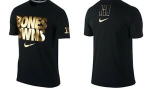 UFC Jon Jones Bones Owns Black Gold NIKE Dri Fit T shirt NEW WITH TAGS, Size M $329.99