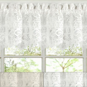 Hopewell Heavy Floral Lace Kitchen Window Curtain 12quot; x 58quot; Valance