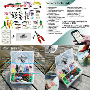 Fishing Lure Kit - Tackle Box Set Combo For Saltwater Freshwater Ice...
