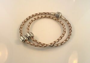 Pandora SS Double Champagne Leather 13in Bracelet 590705 790854 double charm*