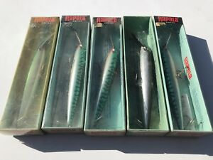 Vintage Rapala Wobblers 5 Total With Box CD-18 SM-Mag Lures From Finlande