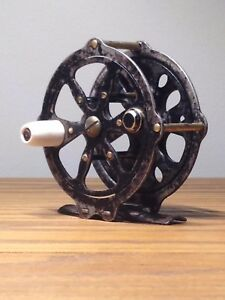 Vintage 1930s Skeleton Style Fly Fishing Reel - MetalBrass 2 12