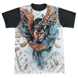 Superman BULLETS IN THE SKY 1-Sided Big Print Black Back Poly T-Shirt