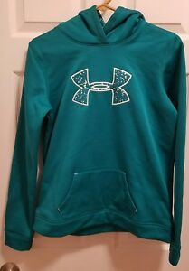 UNDER ARMOUR teal greenblue super soft girls loose fit hoodie size Youth XL