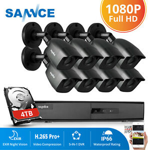 SANNCE 4CH 8CH 1080P 5in1 DVR 2MP InOutdoor IR Security Camera System 0-4TB